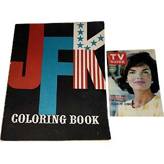 1962 JFK Coloring Book & TV Guide with Jacqueline Kennedy on Cover