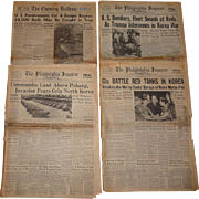 Four 1950 Korean War Era Newspapers, June 28, July 5, Sept. 15, Oct. 25th
