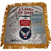 1943 Manual for Aviation Cadets Book & Camp Miami Beach Florida WWII Pillow Cover