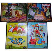 Two Huckleberry Hound and Two Lady and The Tramp Tray Puzzles