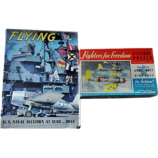 WWII Era U. S. Navy Planes Puzzle and 1944 Naval Flying Magazine