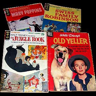 Four Walt Disney 1950's-60's Comic Books, Old Yeller, Mary Poppins, Swiss Family Robinson, Jungle Book