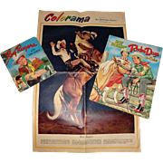 Vintage Roy Rogers at the Ranch Book, Roy Rogers Rodeo Days Coloring Book, Philadelphia Inquirer Colorama Section