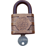 Vintage New York New Haven & Hartford Railroad Signal Lock NYNH&H Padlock w/ Key