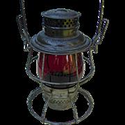 Antique Boston & Maine Railroad Red Etched Tall Globe Adlake Reliable Lantern B&MRR Railway