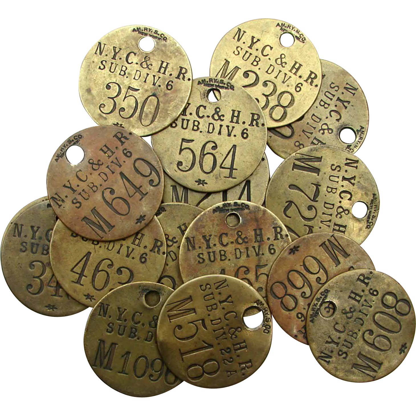 Antique NY Central & Hudson River Railroad Brass Tool Tags Individual Numbers