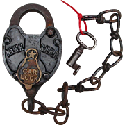 New York, New Haven & Hartford Railroad Iron Car Lock and Key Set