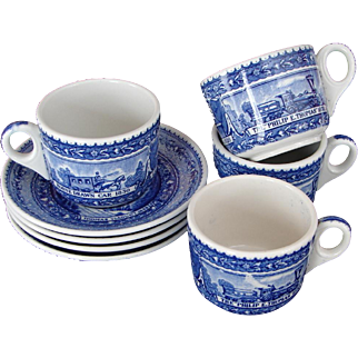 FOUR AVAILABLE: Vintage 1930s Baltimore & Ohio Railroad China Cup & Saucer Set  B&ORR