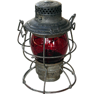 Vintage Scarce Adlake #100 NYNH&H Red Cast  New York, New Haven & Hartford Railroad Lantern