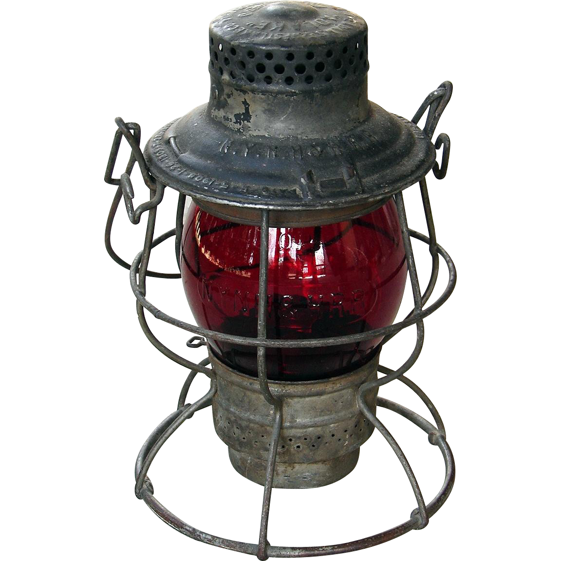 Vintage Scarce Adlake #100 NYNH&H Red Cast  New York, New Haven & Hartford Railroad Lantern