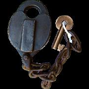 Antique BC&MRR Boston Concord & Montreal Railroad Brass Bohannan Switch Lock & Key