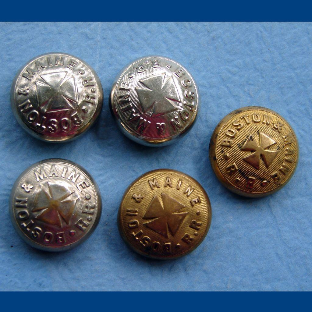 FIVE Boston & Maine Railroad Uniform Button Covers
