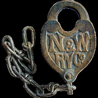 Brass N&WRY Fancy Castback Heart Shape Norfok & Western Railroad Switch Lock