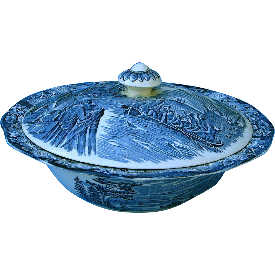 """Vintage Staffordshire Liberty Blue Large 9-inch Covered Vegetable Bowl """"Boston Tea Party"""" Dinnerware England"""