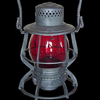 Central New England Railway Tall Globe Red Cast Keystone Casey CNERY Railroad Lantern