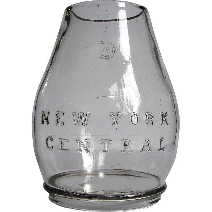 Antique New York Central Railroad Dietz No. 6 Clear Cast Lantern Globe
