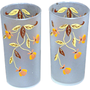 TWO Hall Autumn Leaf Frosted Glass Tumblers