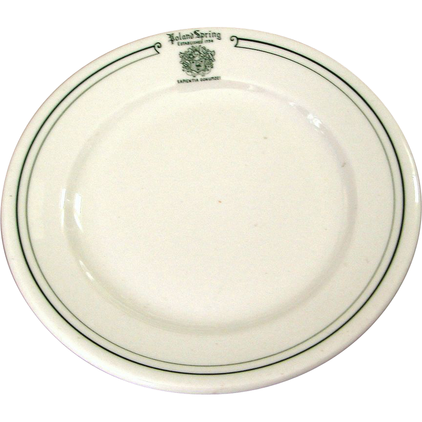Vintage Pre-1955 Poland Springs Restaurant Ware China Plate Railroad Related Top Logo Marked
