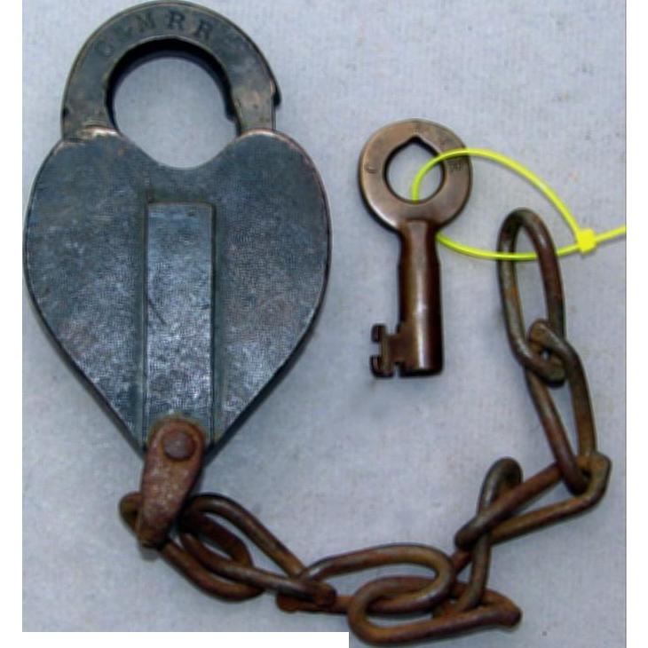 Rare Antique 1800s C&MRR Concord & Montreal Railroad Lock & Key Set