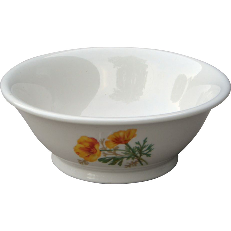 Santa Fe / Fred Harvey California Poppy Massive Double Salad Bowl Railroad China