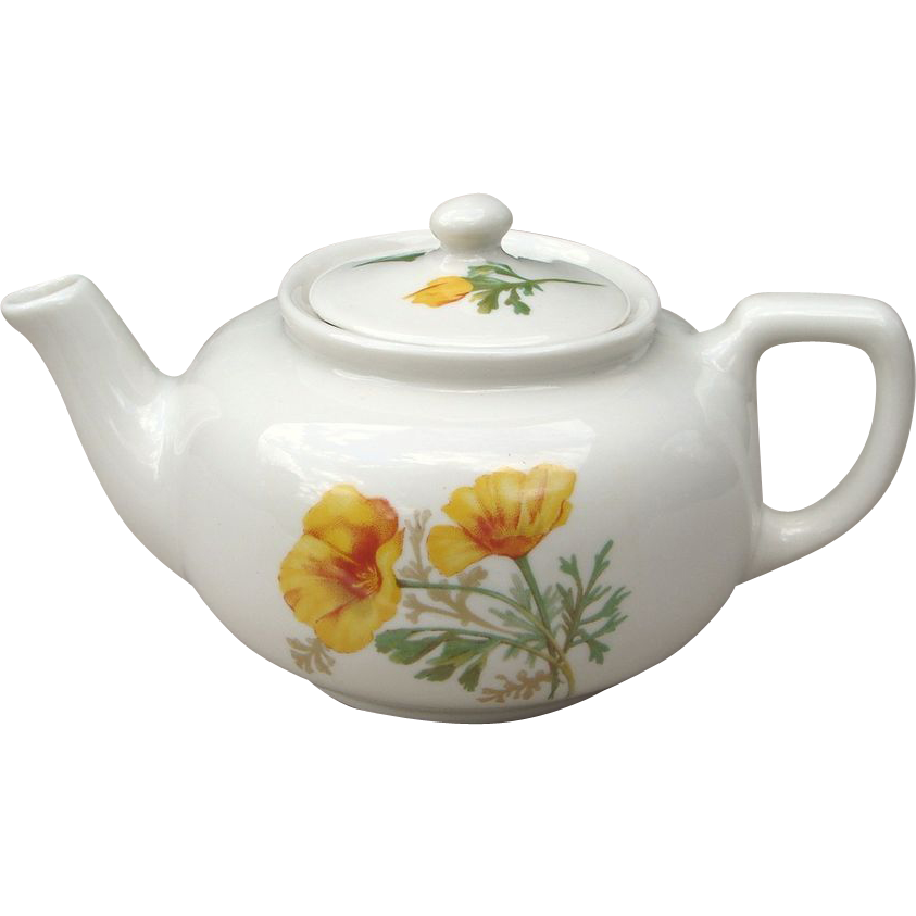 Santa Fe or Fred Harvey California Poppy Railroad China Tea Pot