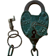 New York New Haven & Hartford Railroad Car Lock with Key Working Set