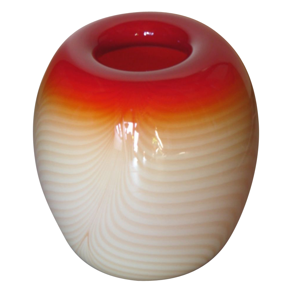 1-of-a-kind Designer Nourout Scarlet & Cream Ombre Art Glass Vase Signed