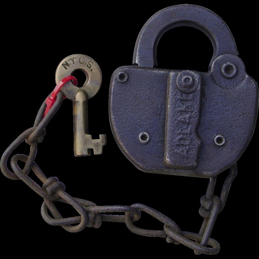 Vintage New York Central Railraod Brass Key and Steel Switch Lock Set NYCS