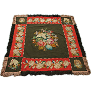 Breathtaking Hand Made Victorian Carriage Lap Robe w/ Embroidered Floral, Horse and Dog Motif - One of a Kind!