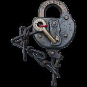 "Antique ""Big Four"" CCC&STLRR Railroad Brass Key & Steel Switch Lock Set"