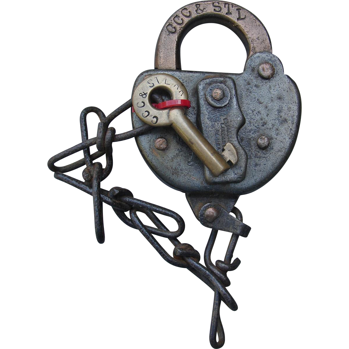 "Vintage ""Big Four"" CCC&STLRR Railroad Brass Key & Steel Switch Lock Set"
