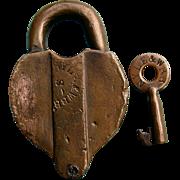 1800s Post New York Lake Erie & Western Railroad Brass Switch Lock & Key Set NYLE&WRR