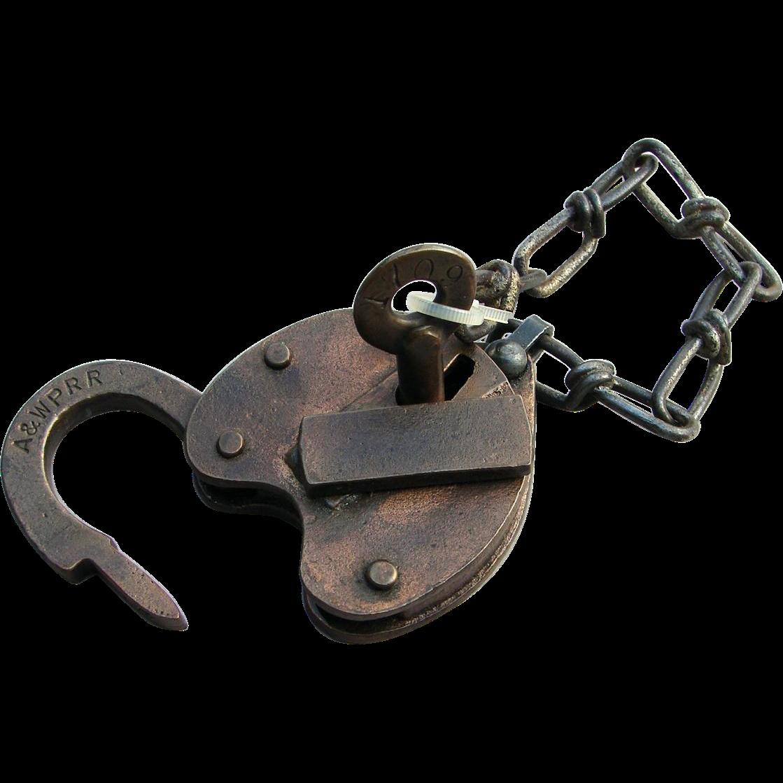 Atlanta & West Point Railroad Brass Heart Shape Switch Lock & Key Set AW&PRR