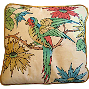 Vintage 1930s-1940s Embroidered Parrot Bird Sofa Pillow