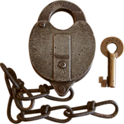 Early New York Central Railroad NYCRR Iron Switch Lock and Brass Key Set by Wilson Bohannan