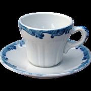 Union Pacific Railroad China Harriman Blue Demitasse Cup & Saucer Set