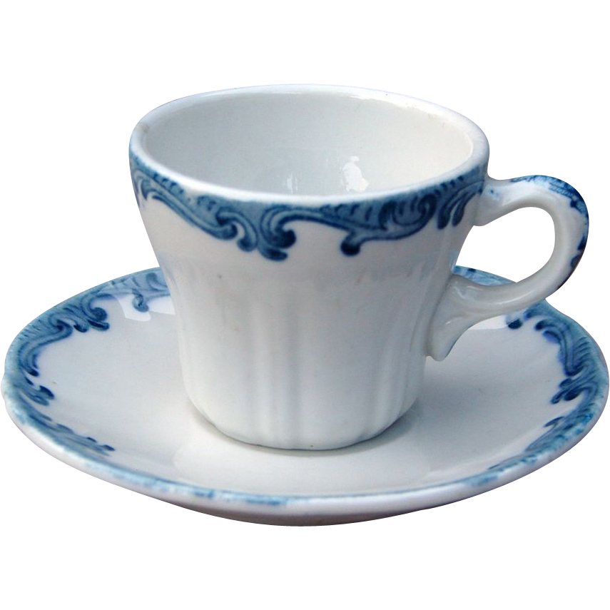 Union Pacific Railroad China Harriman Blue Demitasse Cup & Saucer Set