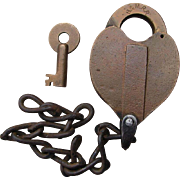 Vintage Boston & Maine Railroad Brass Heart Shape Lock & Key B&MRR