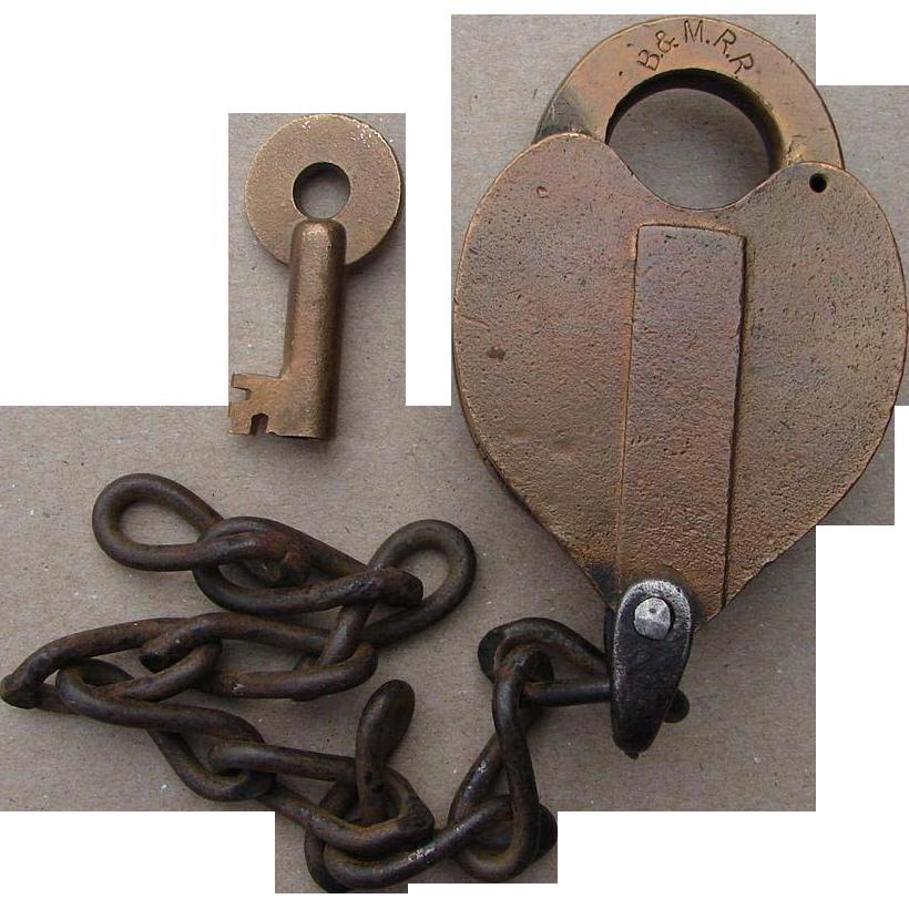 Vintage Boston & Maine Railroad Brass Heart Shape Lock & Key B&MRR