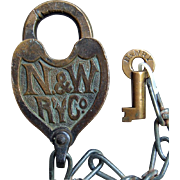 Brass Norfolk & Western Railway N&WRY Fancy Castback Heart Shape Lock and Key Set