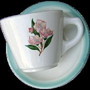 "PRR Pennsylvania Railroad China ""Mountain Laurel"" Cup and Saucer Set"