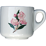 "PRR Pennsylvania Railroad China ""Mountain Laurel"" Mug Straight Sided Coffee Cup"