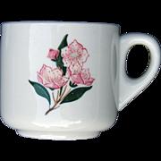 "PRR Pennsylvania Railroad China ""Mountain Laurel"" Mug Straight Sided Coffee Cup"