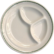 Louisville & Nashville Railroad China Green Leaf a/k/a Clover Divided Dinner Grill Plate