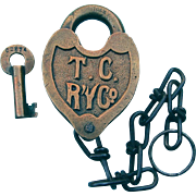 Fancy Castback 1942 Tennessee Central Railroad Heart Shape Brass Switch Lock With Key