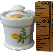 Tiny Santa Fe Railroad China California Poppy Horseradish Condiment Jar