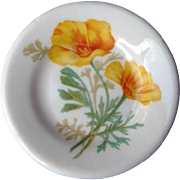 Santa Fe Railway or Fred Harvey California Poppy Railroad China Butter Pat