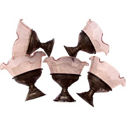 Group of Delicate Pink Depression Glass Sherbet Dishes w/ Metal Pedestal Bases