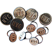 "TEN NY Central Railroad ""Silver"" Uniform Buttons"