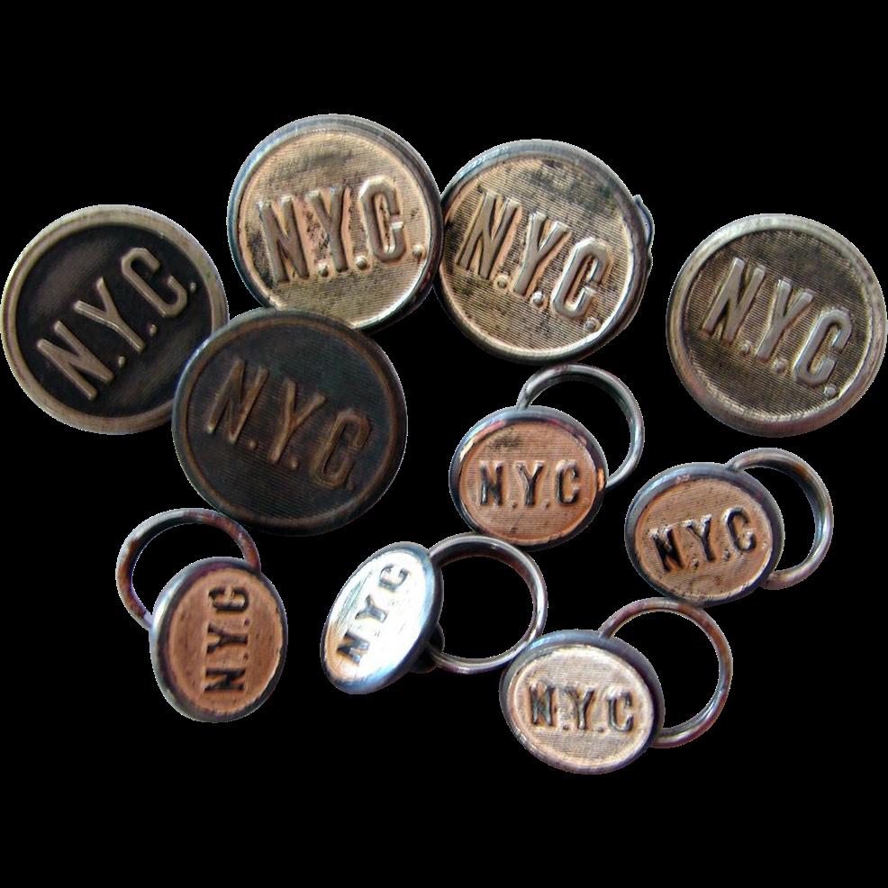 "TEN NY Central Railroad ""Silver"" Uniform Buttons"